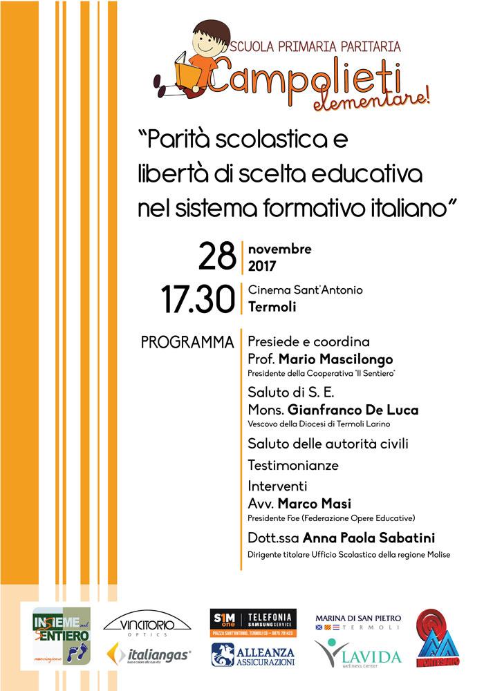 """Convegno martedì 28 novembre: """"Parità scolastica e libertà di scelta educativa nel sistema formativo italiano"""""""